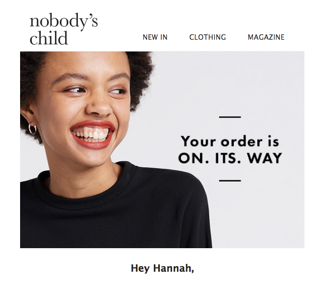 Nobody's Child delivery confirmation email