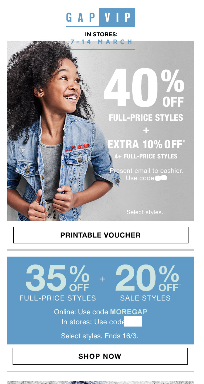 Gap data-driven email marketing promoting in-store sale