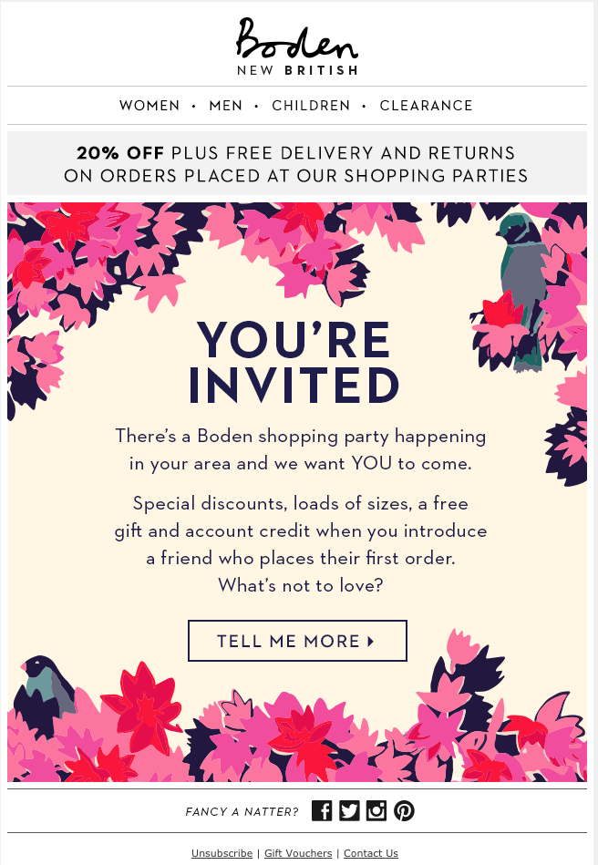 Boden marketing email promoting in-store event