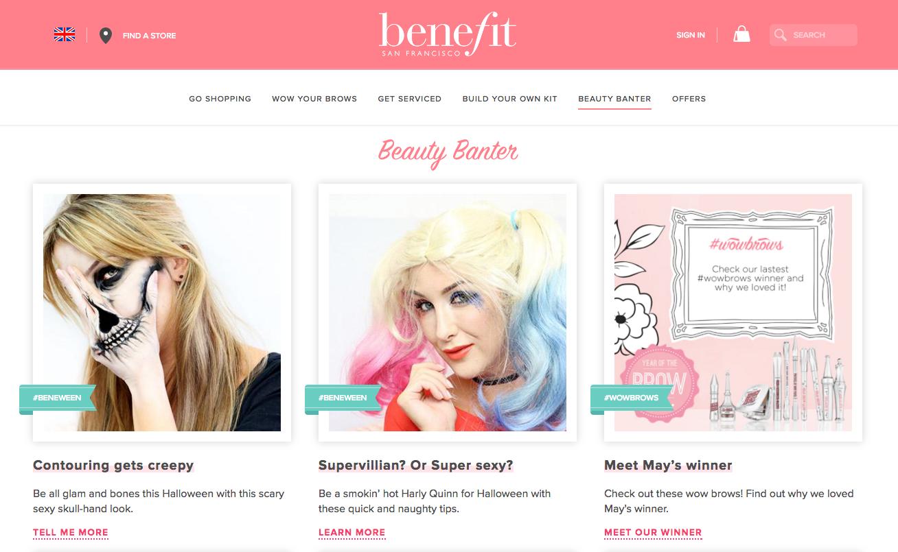 Benefit websote header