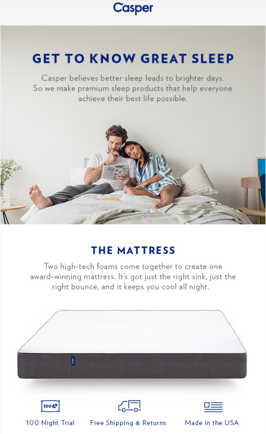 Casper online mattress company email marketing