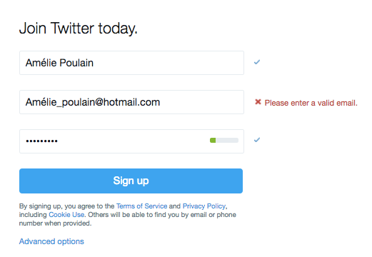 Twitter in-line web form example