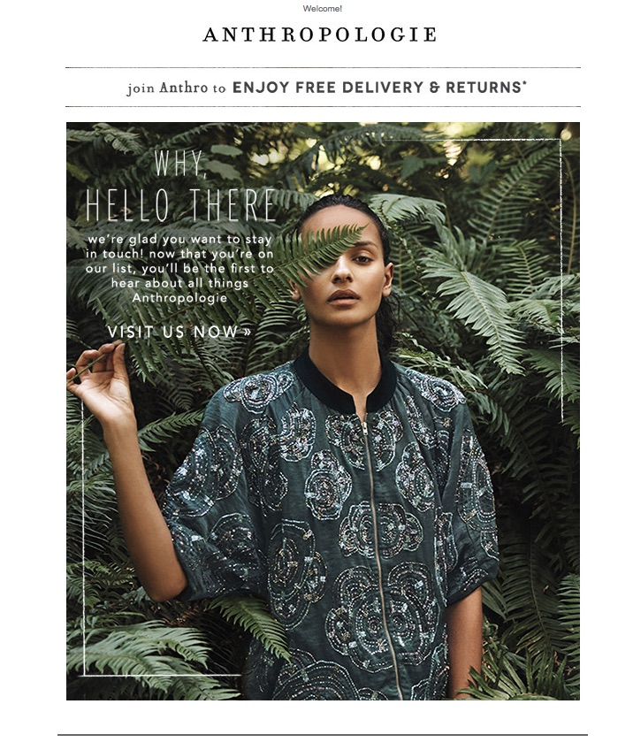 Anthropologie welcome email