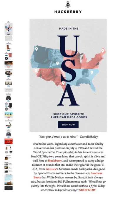 Huckberry retailer fourth july email