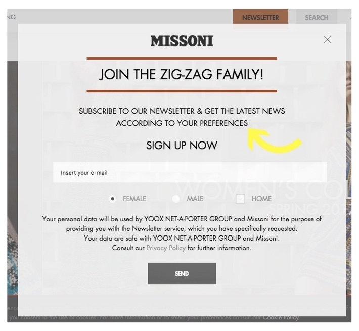 example ecommerce popup newsletter from MISSONI