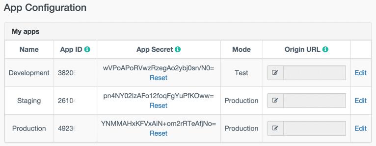App listing in callstats.io user settings
