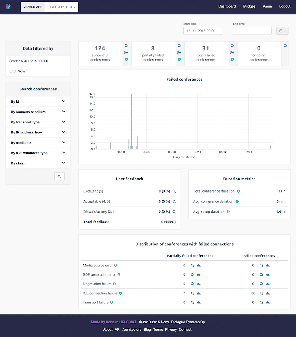 The new app-level metrics page with a trend graph