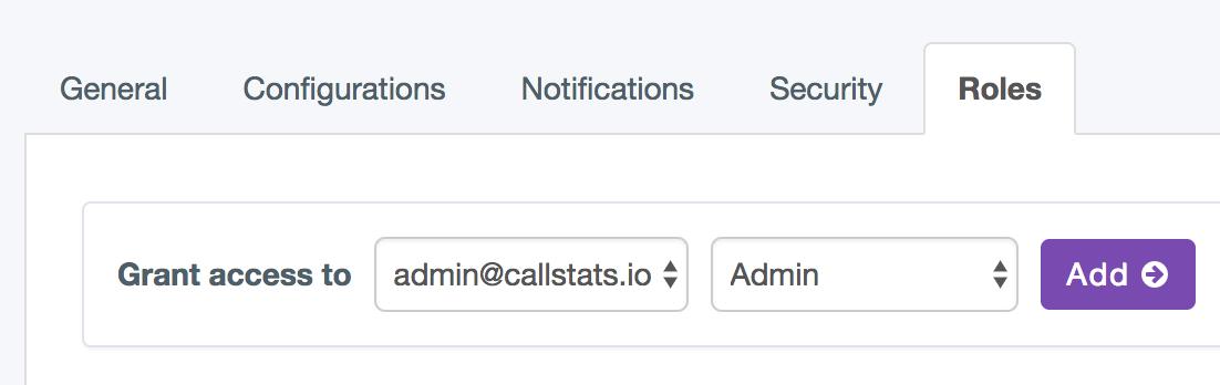 Change ownership in callstats.io dashboard