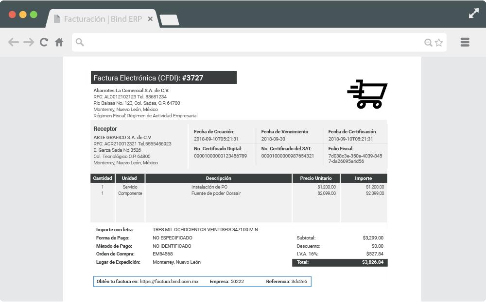 Factura electrónica generada en Bind ERP con datos para autofacturar.
