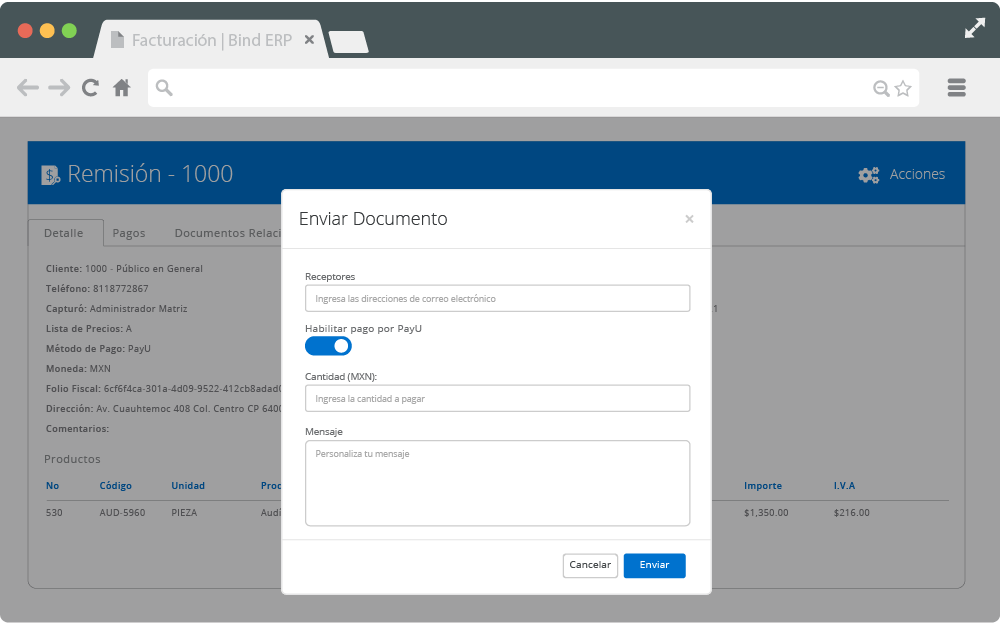 Pantalla de Bind ERP para enviar solicitudes de pago por medio de PayU.