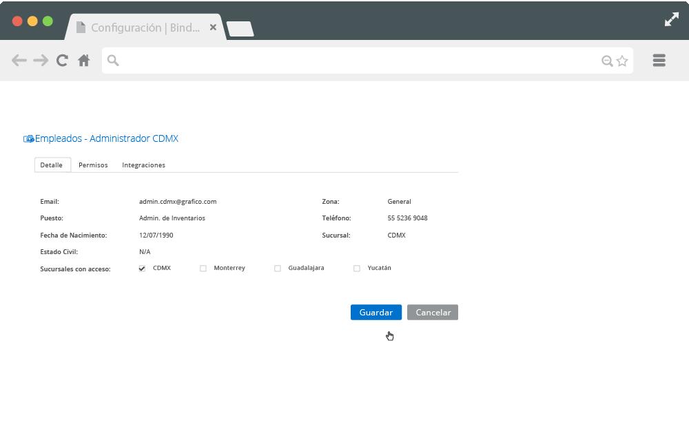 Pantalla de Bind ERP para personalizar el perfil del usuario.