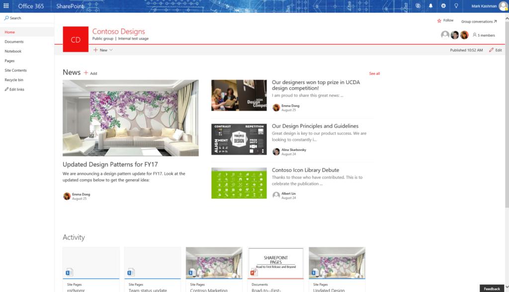 Office 365 Roadmap - Modern Team Site News