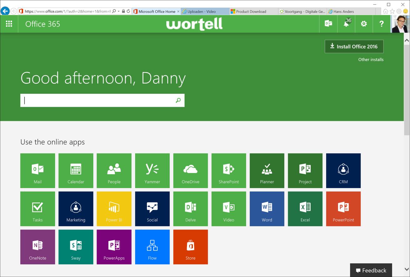 Office 365 Startpagina