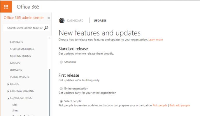 Office 365 Admin -SelectieveFirstRelease