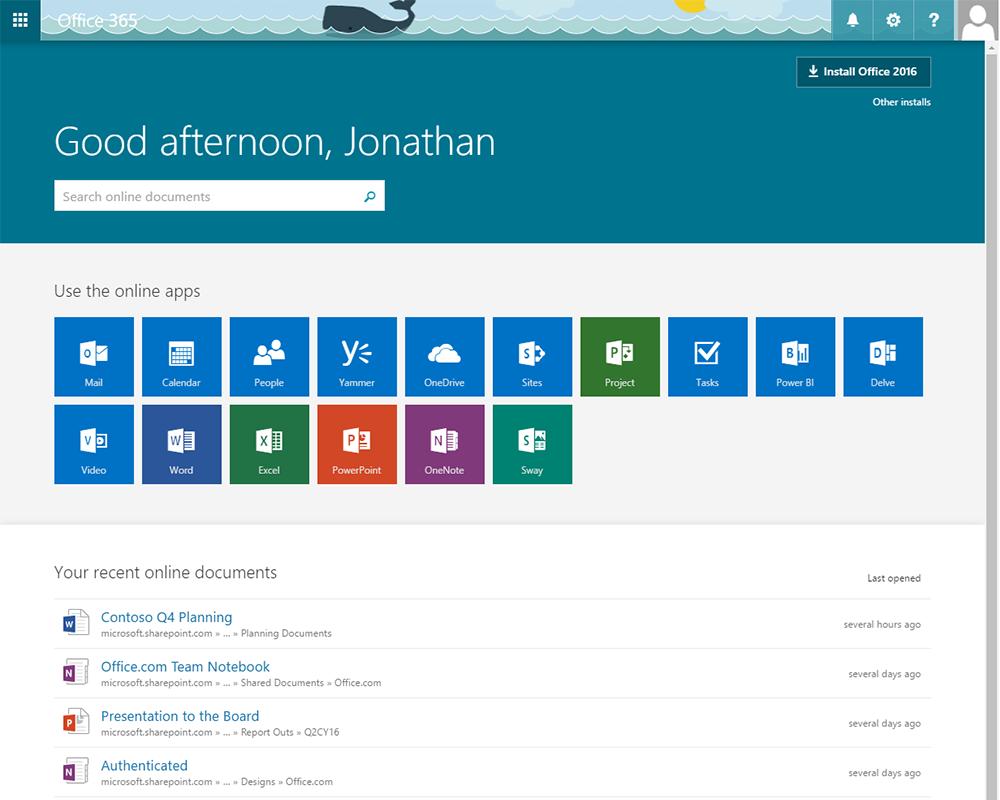 de nieuwe office 365 startpagina