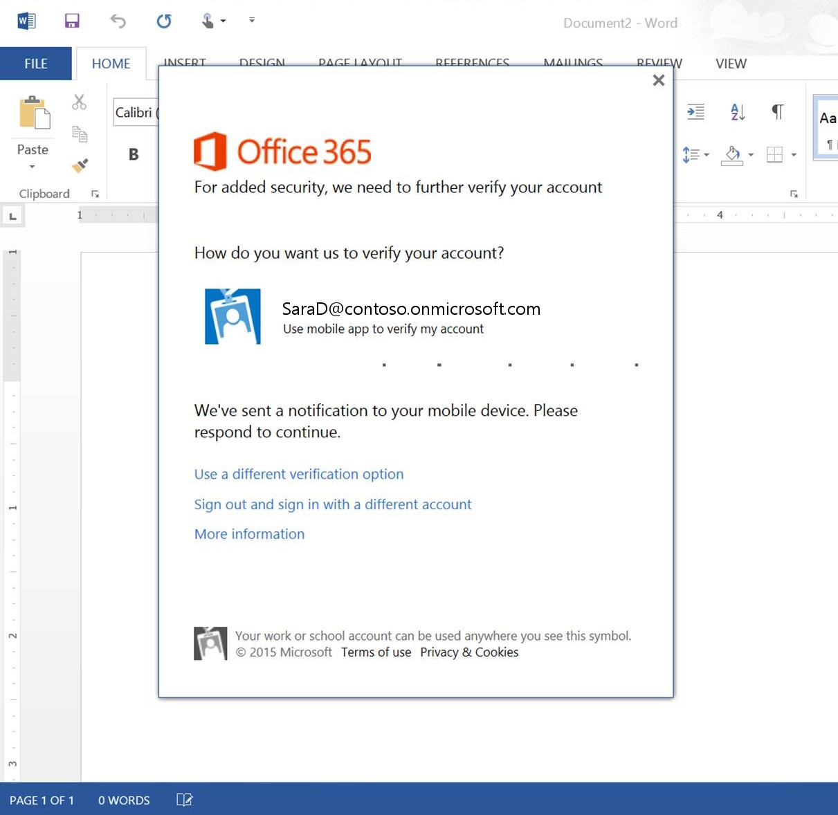 Multi Factor Authentication in Office ProPlus