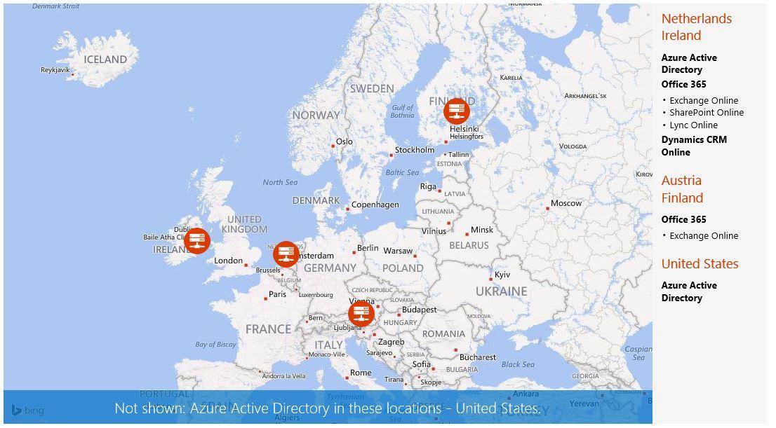 Office 365 Datacenter locaties Europa