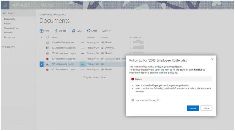 Policy tips binenn SharePoint