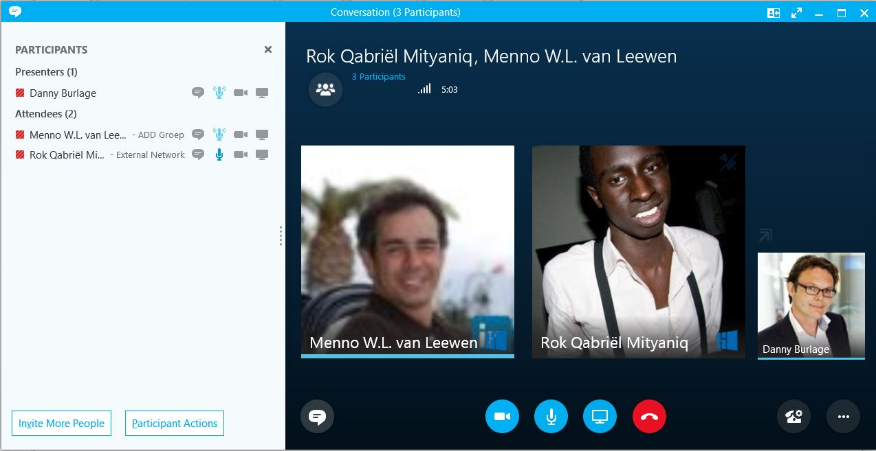 Videogesprek in Skype for Business