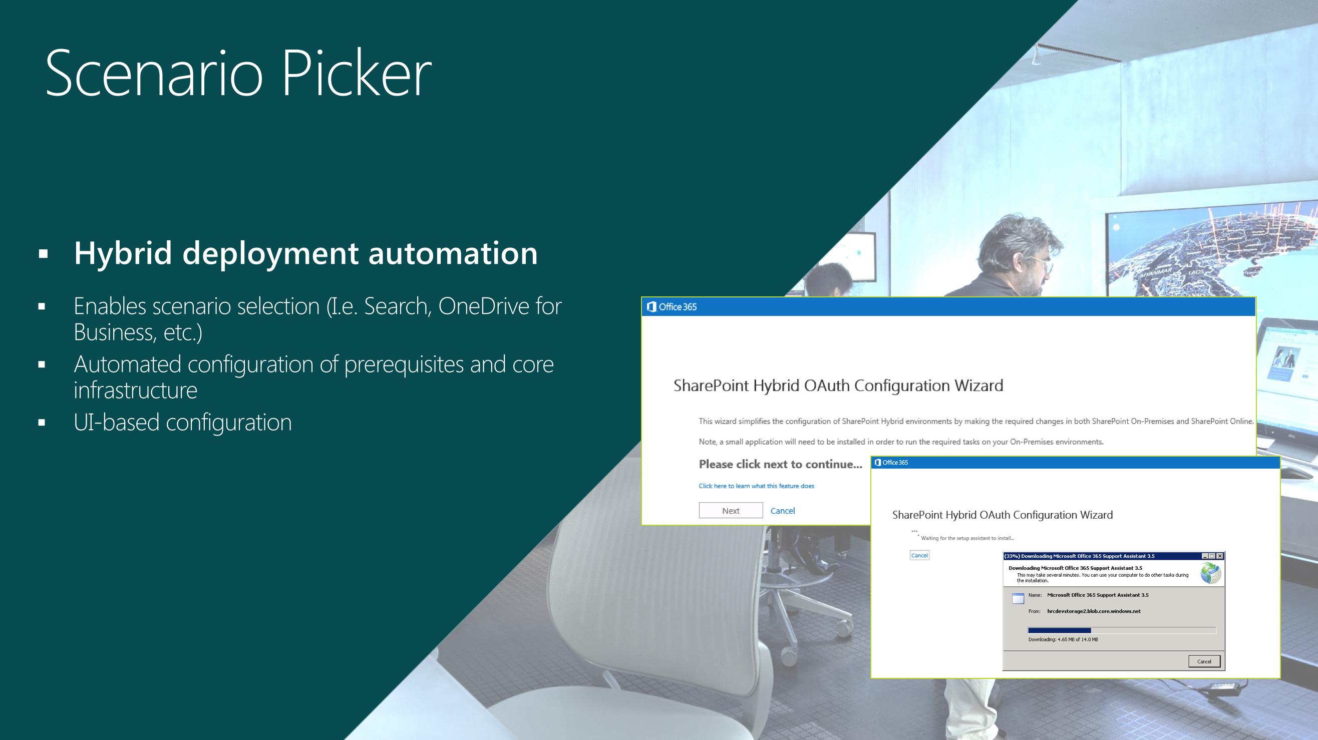 SharePoint 2016 scenario picker