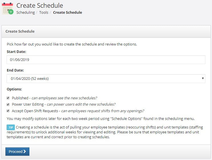 Create Schedule tool in PlanIt scheduling software.