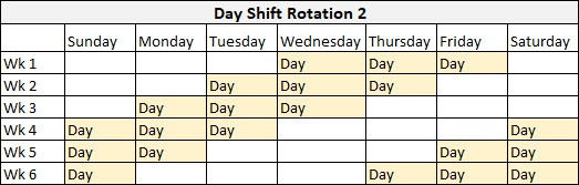 Day Shift Rotation 2 example template on a spreadsheet.