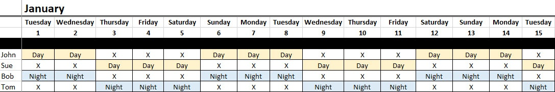 The 4 example rotations displayed on spreadsheet calendar.