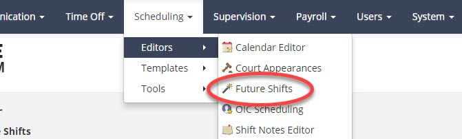 Future shift tool in PlanIt scheduling software.