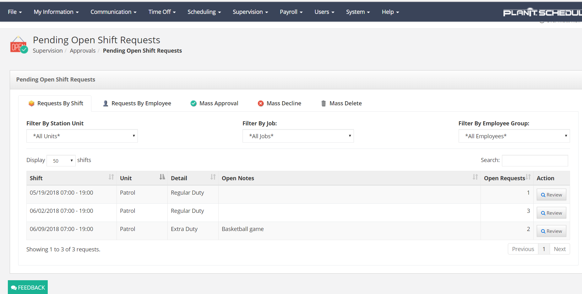 Pending openshift request screen in PlanIt Police Scheduling Software