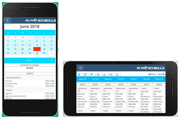 PlanIt Schedule on smartphones.