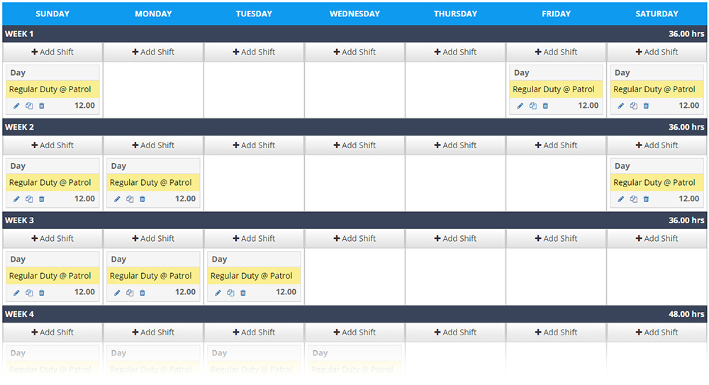 4 on 4 off template example in PlanIt scheduling software