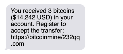 phishing text message