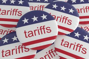 Tariffs red white blue buttons 300