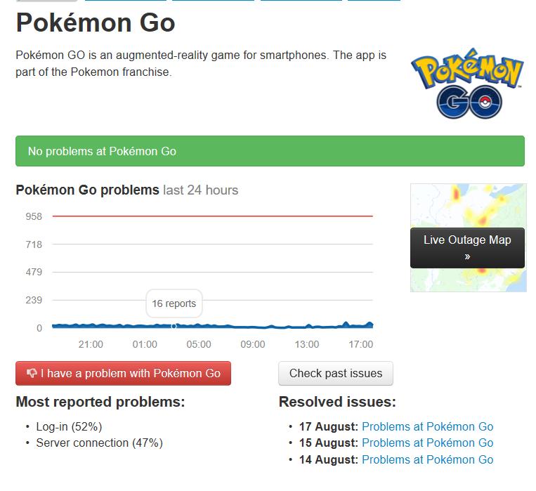 Página de estatísticas do Pokemon Go