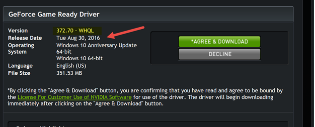 GeForce Driver Window