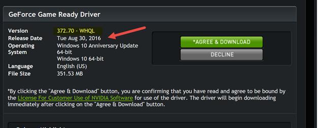 GeForce Driver Window