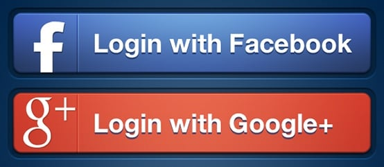 Facebook and Google Login buttons