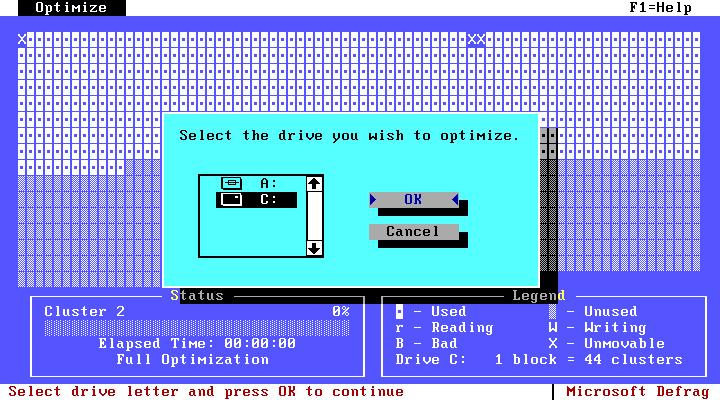 Interface de otimização de drives