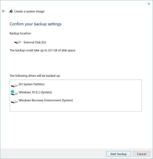 Configure back-up settings