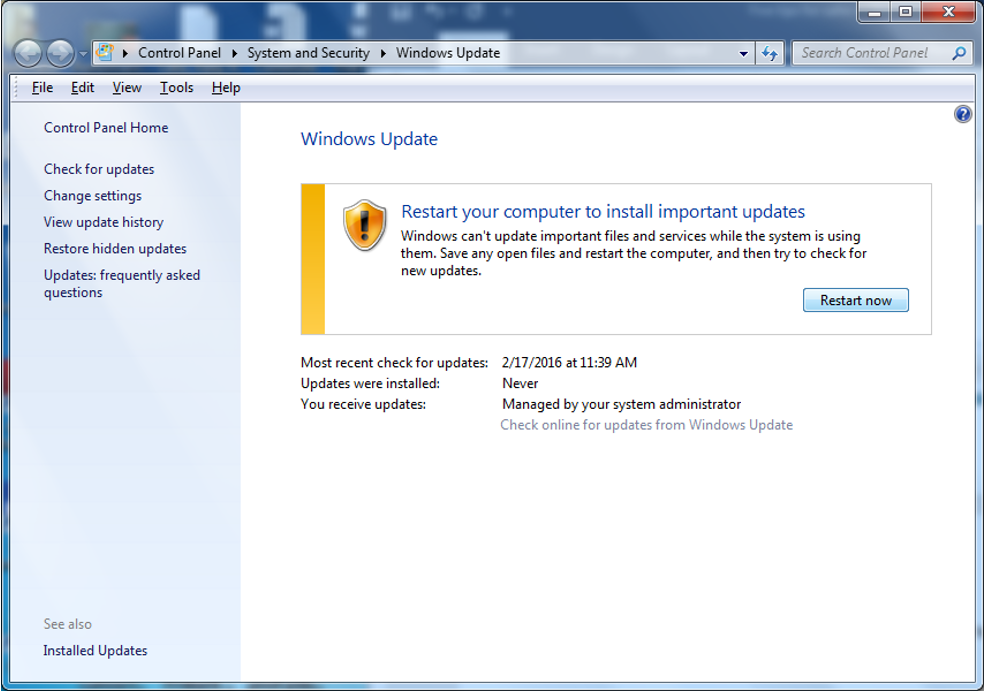 Pantalla de Windows Update