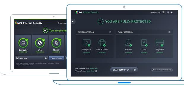 Alte und neue Benutzeroberfläche von Internet Security