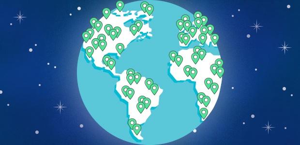 Globe with users around the world