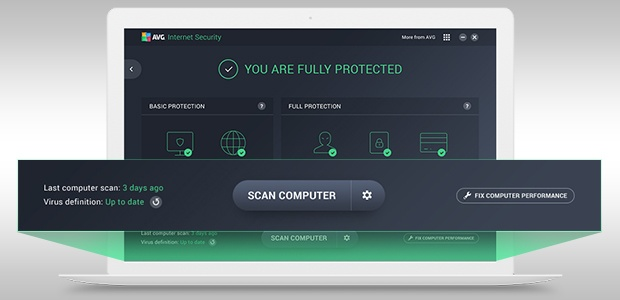 Scan options screen from Internet Security