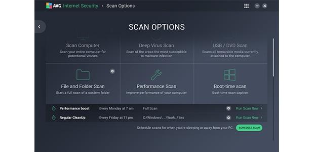 Benutzeroberfläche des Bildschirms mit den Scanoptionen
