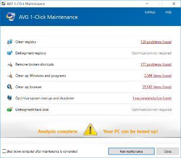 Captura de tela da janela da Manutenção em um Clique da AVG