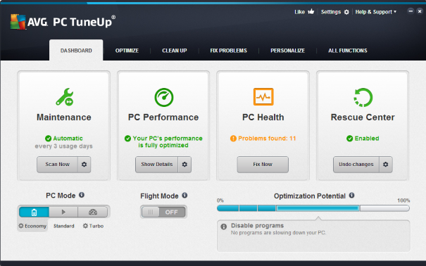 Guia do painel do AVG PC TuneUp