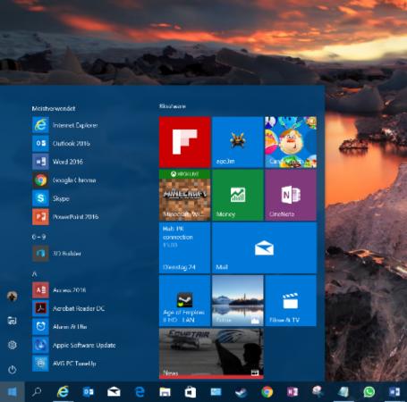 Tela iniciar do Windows 10