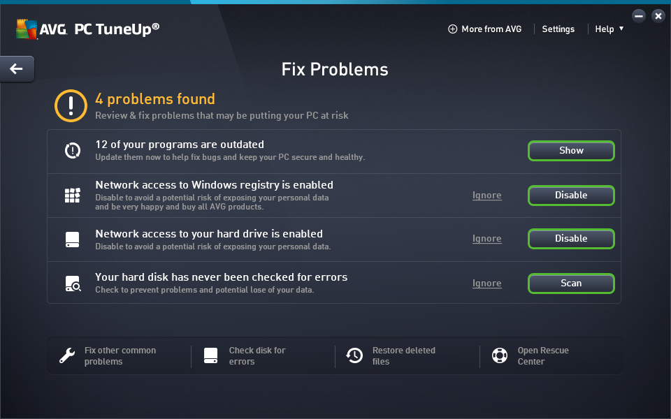 Fix Problems screen