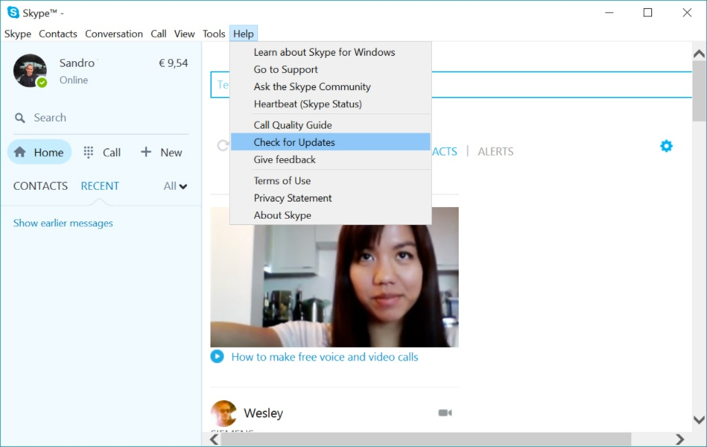 Skype-Hilfemenü– Benutzeroberfläche