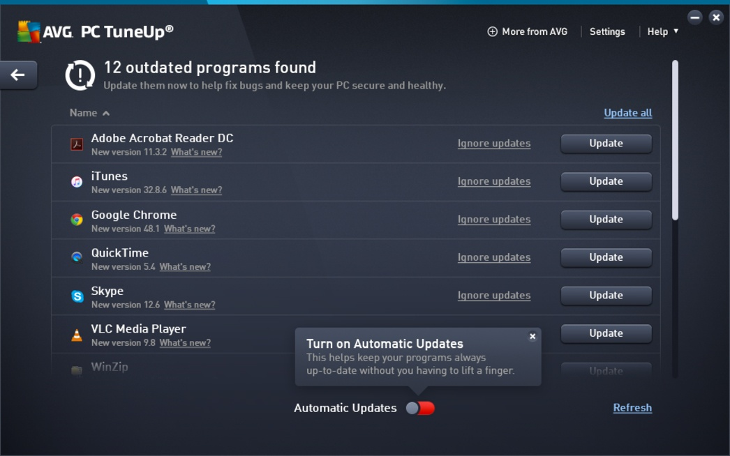 PC TuneUp Automatic updater U.I.